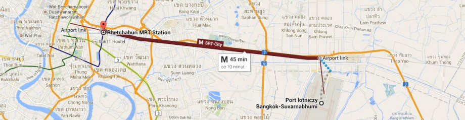 Lotnisko Suvarnabhumi - stacja metra Phetchaburi