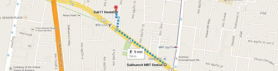 stacja metra Sukhumvit - hostel Suk 11